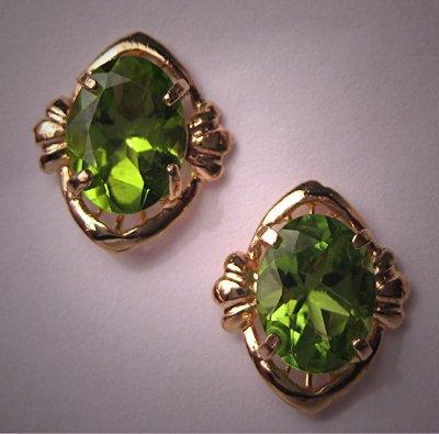 Vintage Peridot Earrings 14K Gold Estate Jewelry Gems