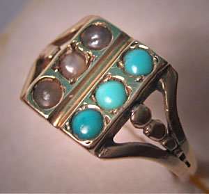 Antique Victorian Ring Turquoise Seed Pearls Vintage Gold Ring