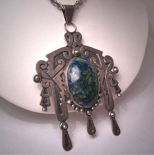 Large Taxco Mexican Silver Turquoise Necklace Designer Signed Pendant