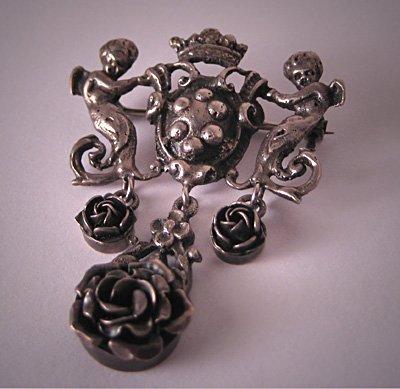 Antique Cherub Pin Signed Peruzzi Silver Brooch Art Nouveau