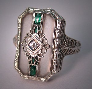 Antique Art Deco Ring Vintage Diamond Ring Rock Crystal