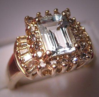 Estate Aquamarine Diamond Ring Vintage Gold Fine Jewelry Size 7