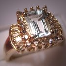 Estate Aquamarine Diamond Ring Vintage Gold Fine Jewelry Size 7
