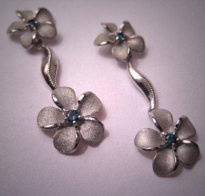 Vintage Hawaiian Jewelry Blue Diamond Earrings Plumeria Drops White Gold