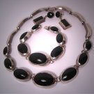 Vintage Mexican Taxco Sterling Silver Set Necklace Bracelet Earrings