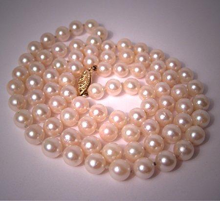 "Vintage Akoya Pearl Strand Necklace Ocean Pearl 24"" 6mm"