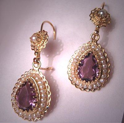 Vintage Victorian Amethyst Seed Pearl Earrings 14K Gold Drops