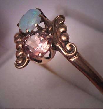 Victorian Opal Ring Antique Tourmaline Ring Rose Gold