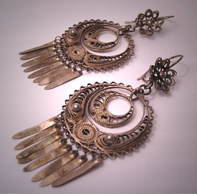 Vintage Mexican Silver Earrings Antique Oaxaca Filigree Drops