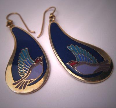 Laurel Burch Earrings Vintage Enamel Swallow Birds Signed