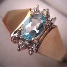 Estate Blue Topaz Diamond Ring Vintage Retro Yellow Gold