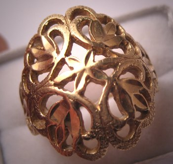 Fine Estate Jewelry Vintage Gold Filigree Ring 14K Gold