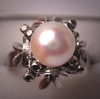 Antique Pearl Ring Vintage Art Deco Akoya Pearl