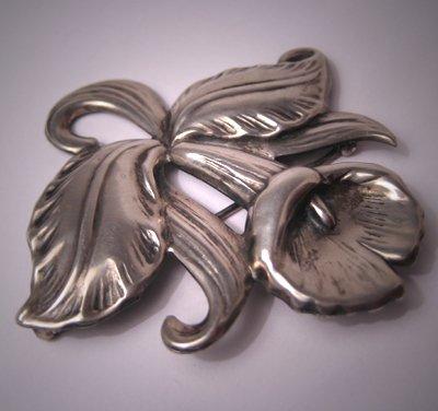 Vintage Sterling Hawaiian Orchid Pin Antique Silver Deco