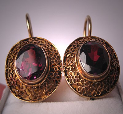 Antique Style Garnet Earrings Vintage Victorian Style Estate