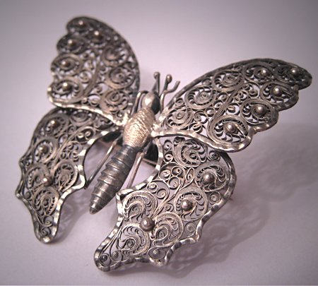 Rare Antique Georgian Silver Tremblant Butterfly Pin Victorian Brooch