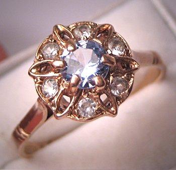 Antique Blue Zircon Ring Vintage Victorian Deco English Gold Wedding Ring