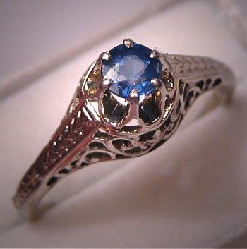 Antique Wedding Ring Vintage Art Deco Sapphire 18K Filigree