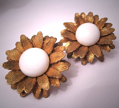 Vintage Miriam Haskell Jewelry Signed Earrings White 1958 Floral
