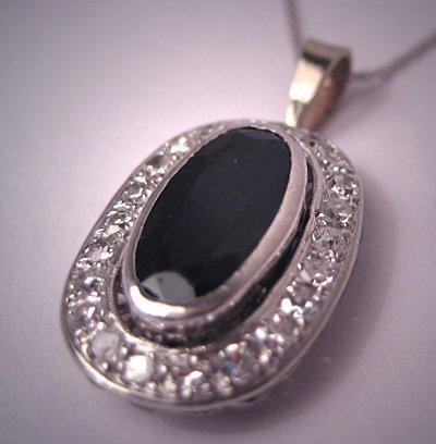 Antique Platinum Sapphire Diamond Pendant Necklace Art Deco Vintage