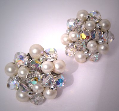 Designer Costume Jewelry Vintage Vendome Pearl Crystal