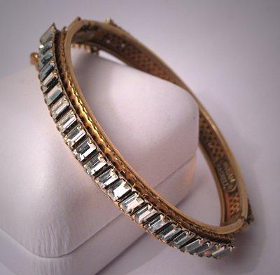 Miriam Haskell Bangle Bracelet Rhinestone Signed 1950s