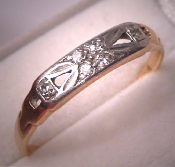 Antique Platinum Diamond Wedding Band Ring Vintage Art Deco 6