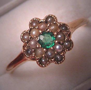 Rare Antique Demantoid Green Garnet Seed Pearl Ring Victorian Gold