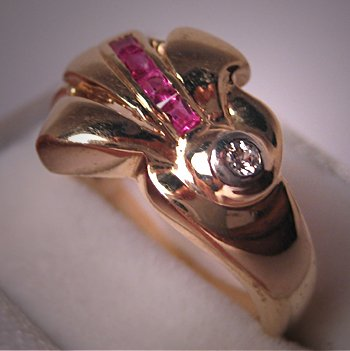 Antique Deco Diamond Wedding Ring Band Ruby Platinum