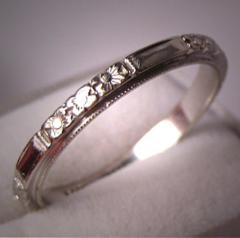 Antique Wedding Band Art Deco Eternity Vintage Floral