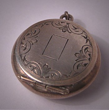 Antique Victorian Locket Engraved Silver Art Deco 1910