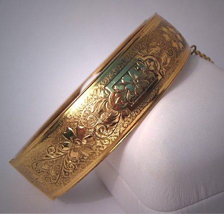 Antique Yellow Gold Bangle Bracelet Vintage Victorian