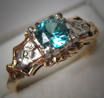 Antique Wedding Ring Blue Zircon Vintage Deco 18K Gold