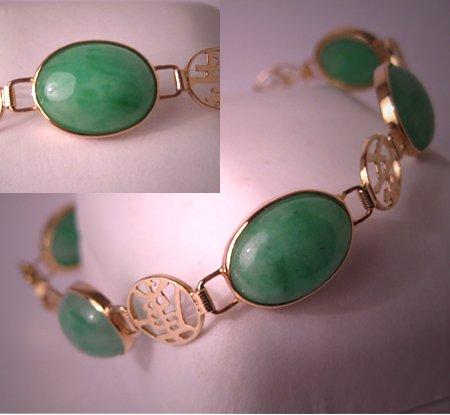 Estate Vintage Jade Bracelet Gold Green Jadeite Fine Jewelry