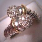 David Yurman Diamond Ring 18K Cable Designer Jewelry