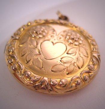 Antique Locket Pendant Gold Vintage Art Deco Victorian