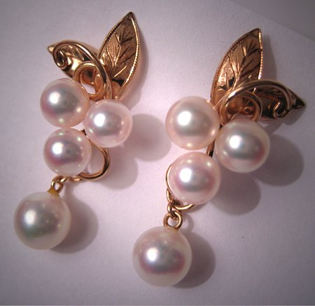 Antique Mikimoto Pearl Earrings in 14K Gold Vintage
