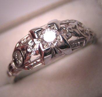 Antique Diamond Wedding Ring Vintage 18K White Gold Art Deco