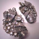 Fabulous Lg Vintage Rhinestone Earrings Designer Signed Haskell Style