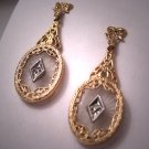 Vintage Crystal and Diamond Earrings 14K Gold Deco