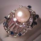 Vintage Diamond Pearl Sapphire Ring Antique Retro Deco