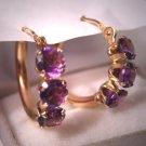 Estate Gold Hoop Earrings with Amethyst Gems