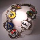 Antique Enamel Heraldic Bracelet European Sterling