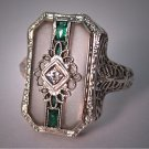 Antique Diamond Ring Vintage Art Deco Rock Crystal Filigree