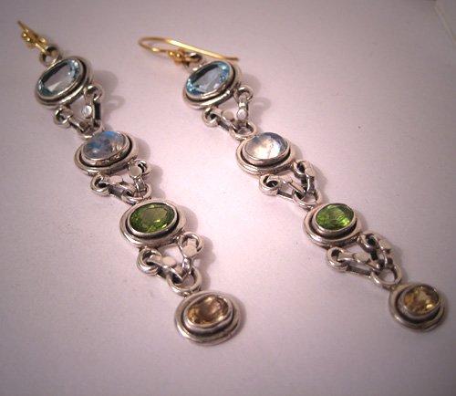 Estate Long Gemstone Earrings with Moonstone Peridot Topaz