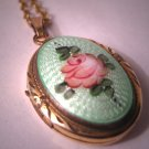 Antique Enameled Locket Vintage Necklace