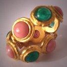 Vintage Deanna Hamro Earrings Designer Coral Emerald