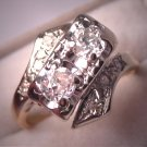 Antique Diamond Wedding Ring Vintage Art Deco14K Gold