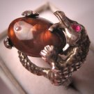 Vintage Dragon Ring with Fire Agate Ruby Antique Estate