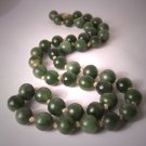 Vintage Estate Jade Necklace Beaded Strand 14K Gold
